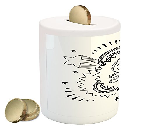 Zodiac Libra Coin Box Bank by Lunarable, Sixties Seventies Inspirations with Sketch Astrology Symbol and Stars, Printed Ceramic Coin Bank Money Box for Cash Saving, Black and - Fashion 70s Inspiration