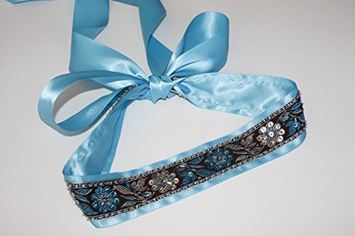 - Beaded Peacock Flower Jacquard Ribbon Sash for Wedding Dress Evening Dress Day Dress (Aqua)