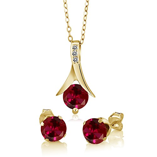 Gem Stone King 3.05 Ct Red Created Ruby White Diamond 18K Yellow Gold Plated Silver Jewelry Set