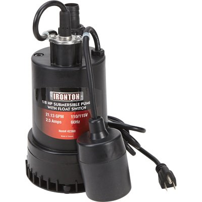 Ironton Submersible Pump with Float Switch and Auto On/Off - 1in. Port, 1268 GPH, 1/8 HP, Model# 108981