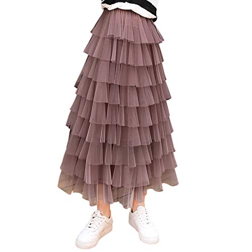 Itemnew Women's Sweet Elastic Waist Tulle Layered Ruffles Mesh Long Tiered Skirt (One Size, Deep Pink)
