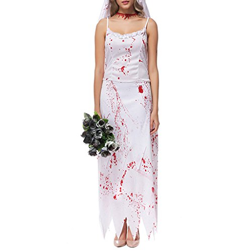 Wotefusi Women's Halloween Party Cosplay Costume Ghost Dead Hell Bridal Dress L -