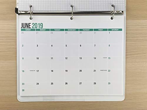 2019-2020 Monthly Calendar Pad for Desk, Wall or Binder, June 2019 to December 2020, 11