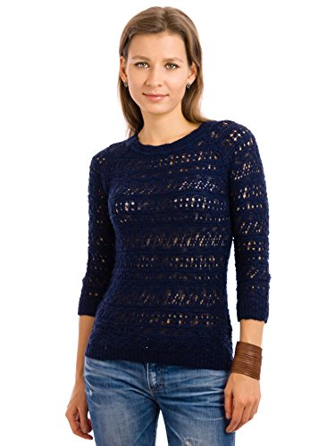 en Weave 3/4 Sleeve Sweater (Large) (Juniors Open Weave)