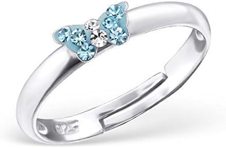 Kinder Ring Fingerring Schmetterling Kristall hellblau verstellbar 925er Silber M/ädchen