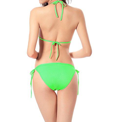 Uskincare Traje de Baño Mujer Chica Bañador con Tirantes Playa Verano 7-Verde