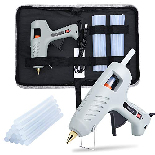 Magicfly 60/100W Hot Glue Gun for Full Size with LED Light and 15 Pcs Full Size Hot Glue Sticks (0.43 X 7.8 inch), Dual Power High Temp Melt Glue Gun Kit for DIY Arts Craft Projects, Household