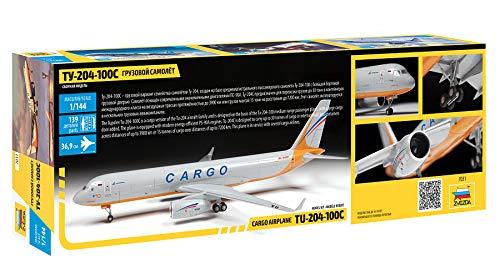"ZVEZDA 7031 - Russian Cargo Airplane TU-204-100C - Plastic Model Kit Scale 1/144 139 Parts Lenght 14½"" / 36.9 cm 2"
