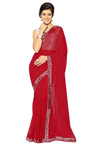 Mirchi Fashion Women's Faux Georgette Plastic Mirror Work Saree (3044_Red) (Women Red For Sarees)