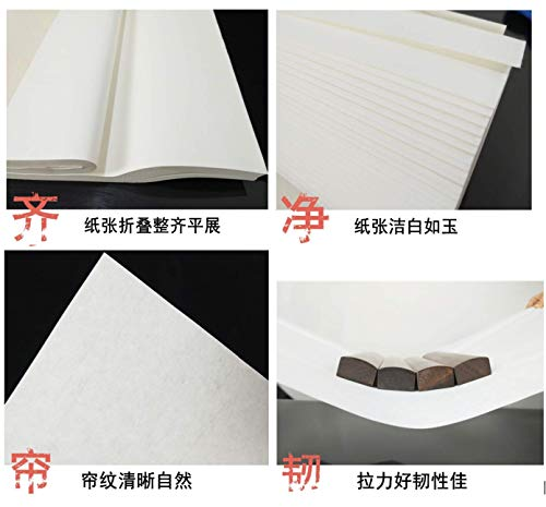 MEGREZ Chinese Japanese Calligraphy Practice Writing Sumi Drawing Xuan Rice Paper without Grids 100 Sheets/Set - 34 x 68 cm (13.38 x 27.77 inch), Sheng (Raw) Xuan