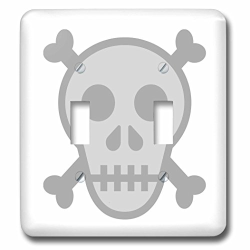 3dRose Xander funny quotes - Skull and crossbones, picture of skull on a white background - Light Switch Covers - double toggle switch (lsp_265899_2) -