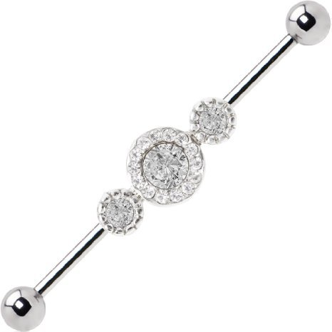Industrial Barbell Clear Halo 14g Surgical Steel 38mm Shaft By Eg Gifts (Gem Industrial Barbell compare prices)