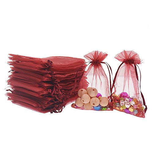 Lautechco 100Pcs Organza Bags 4x6 inches Wine Organza Gift Bags Small Mesh Bags Drawstring Gift Bags Christmas Drawstring Organza Gift Bags (4x6 inches Wine)