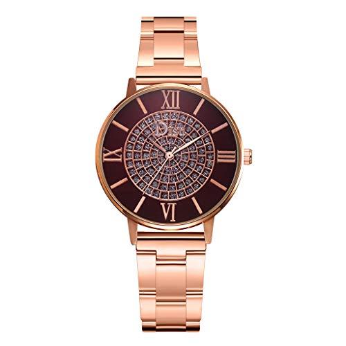 HunYUN Women's Analog Watch with Gold-Tone Case, Crystal-Inset Bezel, Fold-Over Clasp Fashion Luxury Temperament Diamond Set Dial Alloy Strap Ladies Quartz Watch A