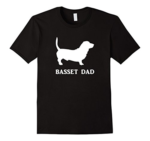 Men's Basset Dad Basset Hound Dog Silhouette Tee T-Shirt White Des Large Black