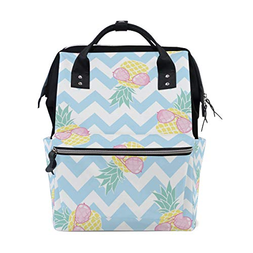 - ColourLife Diaper Bag Backpack Pineapples with Pink Sunglass Casual Daypack Multi-Functional Nappy Bags