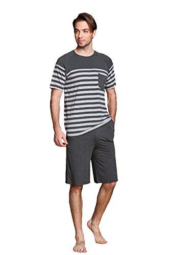 Suntasty Men's Modal Cotton Sleepwear Short Sleeve Pajama Shorts and Top Set(Grey,XL,1005M)