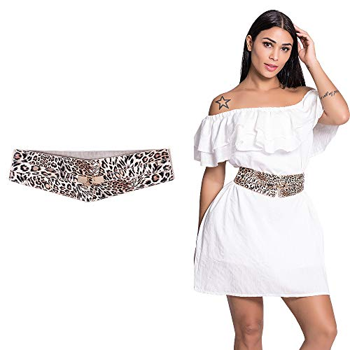 - CHICING Elastic Stretch Wide Belt for Women Fashion High Waist Dress Waist Belts (Leopard, XL(33