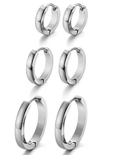 263a8d637 Jstyle Stainless Steel Mens Womens Hoop Earrings Huggie Ear Piercings  Hypoallergenic S