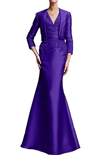 Applikation Damen Neu mit Etui bodenlang Bolero Violett Ivydressing Brautmutterkleid 2017 Promkleid aermellos V Neck Abendkleid Satin 4waqaUnBz