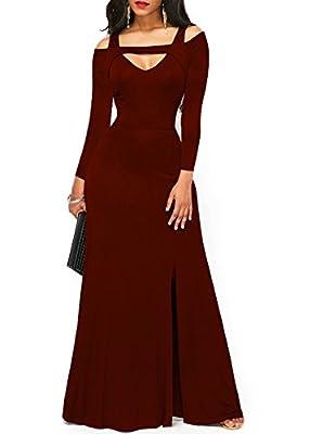 ONLYSHE Women's V Neck Long Sleeve Cold Shoulder Full Length Maxi Formal Party Dress