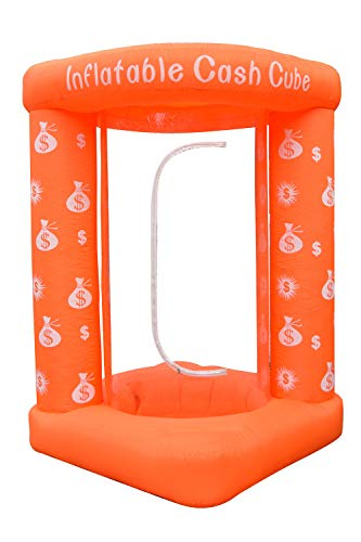 Qunni Inflatable Cash Cube Money Grab Machine Booth for Advertising Event (Without Blower) (Orange)