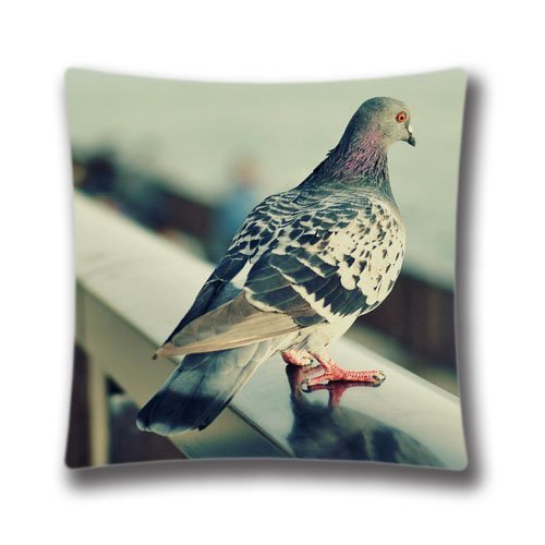 Pigeon Pillow - Pop Home Home Decor Cotton & Polyester Square Pillowcase Lonely Pigeon Printed Throw Pillow Sham Cushion Cover 18