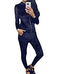 Oberora-Women Zip 2 Piece Outfit Velour Hoodie And Pants Tracksuit Set