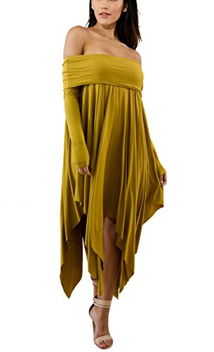 Solid Color Women Dresses - Aleng Women's Solid Color Off Shoulder Long Sleeve Dress Asymmetrical Hem Irregular Loose Party Dress Yellow X-Large