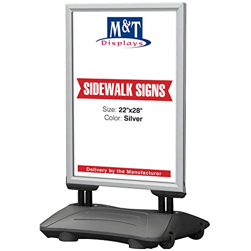 Outdoor Advertising Display Sidewalk Sign for Posters, Snap Open Frame, Double Sided, Water Base (22x28, Silver) High Wind Resistant