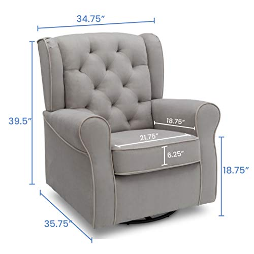41a7WfcmmFL - Delta Children Emerson Upholstered Glider Swivel Rocker Chair, Dove Grey With Soft Grey Welt