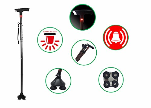 Foldable Aluminum Walking Cane with LED Lights and Security Alarm, Adjustable Heights, Quad ()