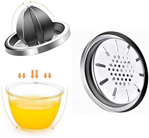 QINAIDI Exprimidor de cítricos Manual, exprimidor de Lima exprimidor, escariador de rotación de Tapa Antideslizante, con contenedor, exprimidor de limón
