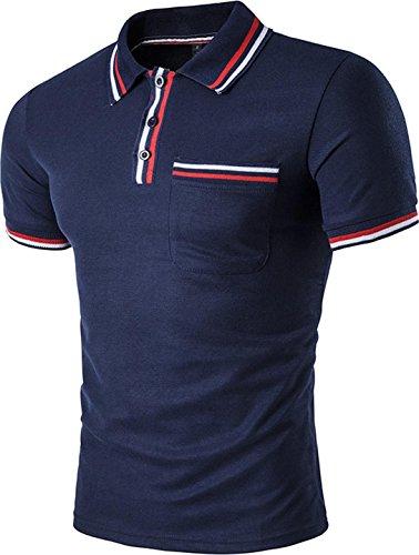 Navy Collar Polo T-shirt (Sportides Mens Polo Shirts Contrast Collar Golf Tennis Short Sleeve Shirt Tops JZA050 Navy L)