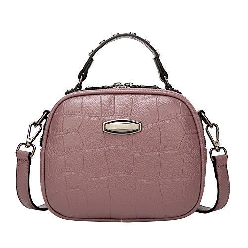 Sac à main en cuir souple pour femme Sac à bandoulière Large Duty Use With Double Zip.   Lady Work Purple Sac à bandoulière