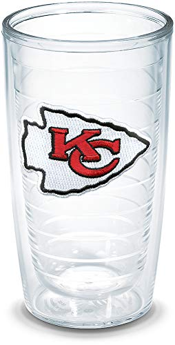 Tervis NFL Kansas City Chiefs Individual Emblem Tumbler, 16 oz, Clear - Kansas 16 Ounce Tumbler