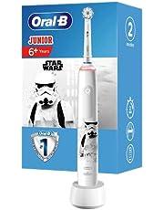 Oral-B Junior Star Wars Elektrische tandenborstel voor kinderen vanaf 6 jaar, 360°-drukcontrole, zachte borstelharen, 2 poetsprogramma's incl. gevoelig, timer, wit