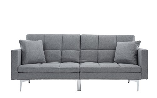 Modern Plush Tufted Linen Split back Living Room Futon, Sofa for Small Space (Light Grey)