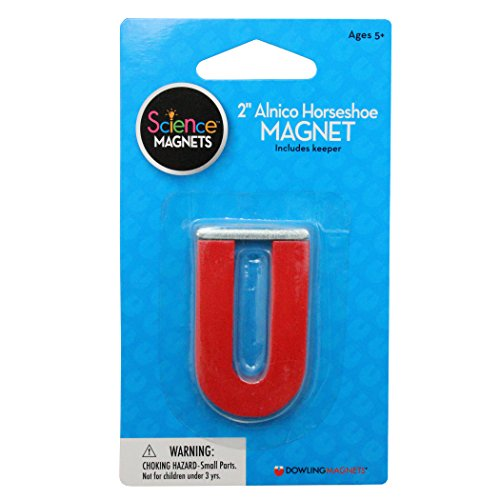 Magnet Horseshoe Red (Dowling Magnets Alnico Horseshoe Magnet (2 inches high) with keeper)