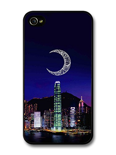 Handrawn Moon Above City Skyline Hipster Design case for iPhone 4 4S