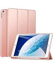 ZtotopCase Fodral för iPad Air 10.5 2019 (3:e generationen) och iPad Pro 10.5 2017, ultratunt mjukt TPU-bakfodral med inbyggd iPad pennhållare, med automatisk sov-/väckningsfunktion, roséguld