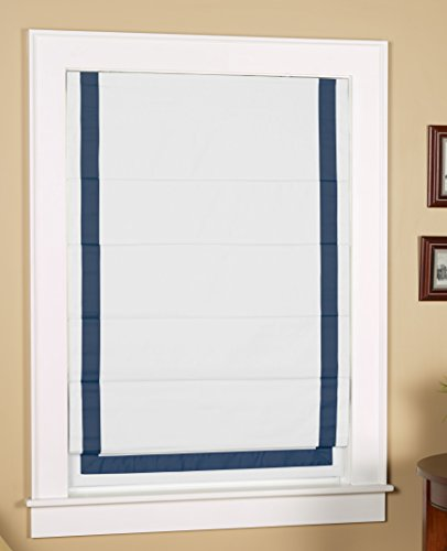 Green Mountain Vista Thermal Blackout Cordless Roman Shade with Ribbon Border - Size 38
