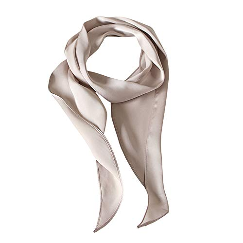 GERINLY Silk Skinny Scarf 1950s Hair Tie Scarf Solid Neckerchief for Uniform Vintage Theme Party Accessory (Grey Silver)