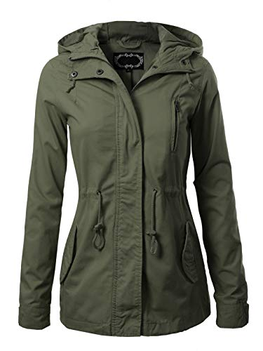 Design by Olivia Women's Military Anorak Safari Hoodie Jacket Olive L