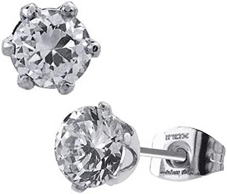Women's Fashion jewelry earrings studs with clear CZ stone set in six prong setting. 5mm