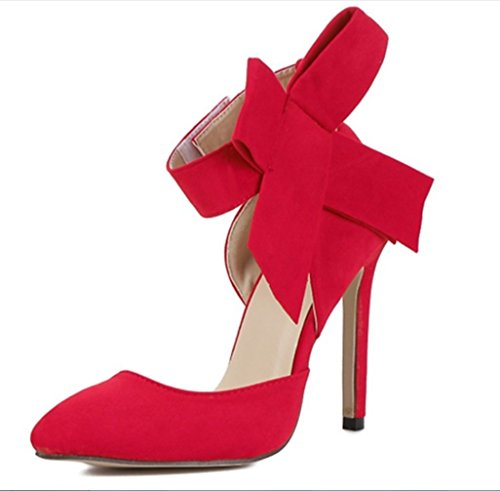 Heels Sandalias Lady Rojo Hechas High Large Tip Bride Ultimate Butterfly Mano Peeps Shoes Heelsxiaoqi A Hollow Suede Liangxie fEYxwqY