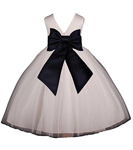 Flower Girl's Ivory Wedding Pageant V-Back Ankle Length Tulle Dress -
