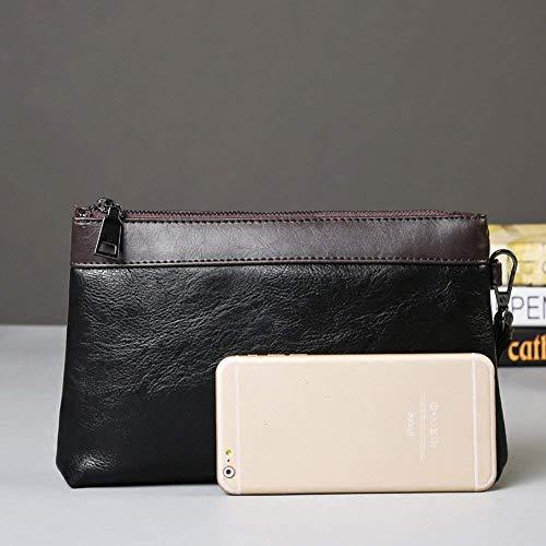 Carte Con Cinturino Pelle Nero In Da Portafogli Wzw Di Uomo portatile Borsetta Frizione Organizzatore gPvTaqw