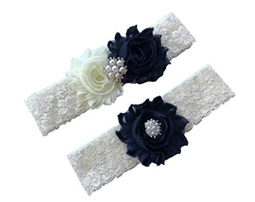 Daddasprincess Wedding Garter Ivory Bridal Lace Plus Size Garter Something Blue (L: 22-26 inches, Dark navy blue)
