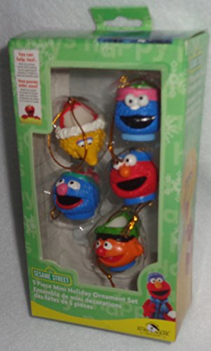 123 Sesame Street 5 Piece Miniature Holiday MUG Ornament Set, Kurt S. Adler